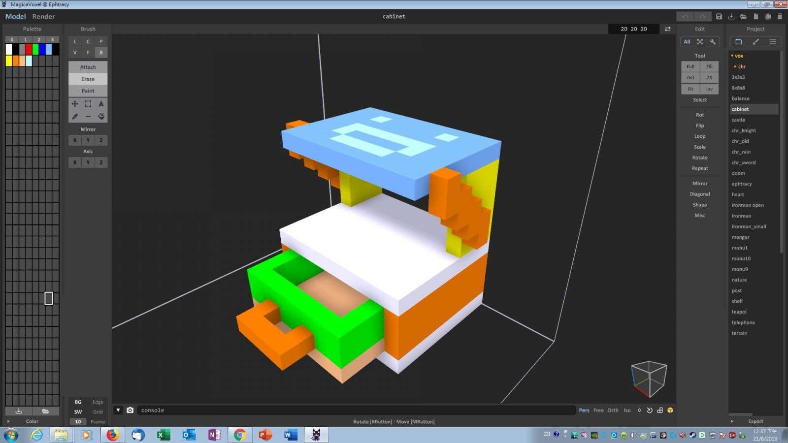 Use Voxel Editor to design cabinet