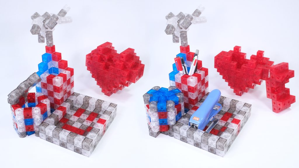 Heart Shape Box and Pen Holder (with hexagonal prism upside down)