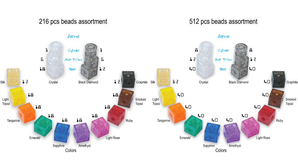 TransformCube Building Beads quantities in packaging of 216pcs and 512pcs